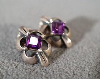 Vintage Sterling Silver 2 Square African Amethyst Fancy Puffed Scrolled Design Dangle Pierced Earrings    #402          **RL