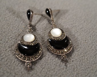 Vintage Sterling Silver Dangle Pierced Earrings 4 Round Moon Shaped Black Onyx Mother Of Pearl Multi Marcasite Victorian Style      #1032