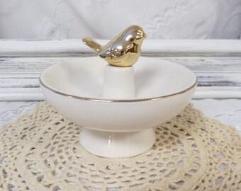 Ivory Vanity Ring Holder - Gift Idea - Trinket Dish - Gold Bird Ring Dish
