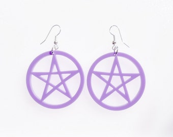 Pastel pentagram earrings