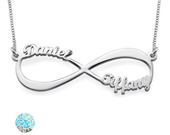Infinity Name Necklace in Sterling Silver 0.925 - Personalized