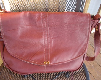 Rusty colored Genuine Leather Shoulder/Crossbody bag in a larger size #315