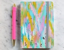 colorful hand painted mini journal notebook 5.75x8.25 in with silver foil. abstract art. painted notebook. colorful notebook