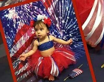 4th of July.  4 PIECES.  Bikini  TUTU and Headband.  Red and Blue. My First Four of July. 18 months. Independence day outfit.