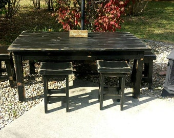 rustic reclaimed distressed wood farmhouse kitchen table primitive farm house w four matching stools 48x72x31 - Primitive Kitchen Tables