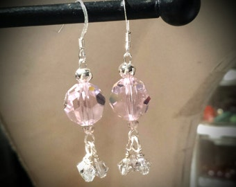 Pink Swarovski Crystal Earrings on Sterling Silver Hardware Sterling Silver Pink Swarovski Crystal Earrings with Clear Crystal Clusters