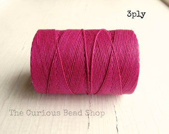 Magenta Irish waxed linen cord 3ply (10 yards) - irish waxed linen cord, irish waxed linen thread deep pink irish linen, uk irish linen