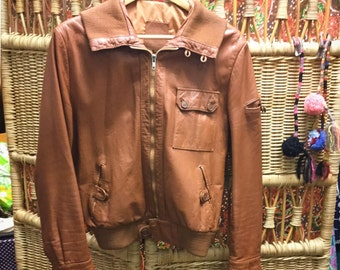70's Tanned leather jacket