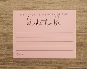 My Favorite Memory of the Bride to be Cards - Bridal Shower Game Card - Pink Cream Neutral - Printed Memory Cards