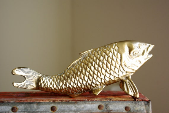 Brass fish figurine asian carp or koi statue chinoiserie for Statue carpe koi
