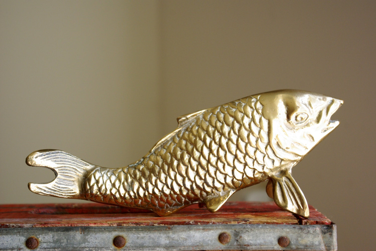 Brass fish figurine asian carp or koi statue chinoiserie for Koi fish figurines