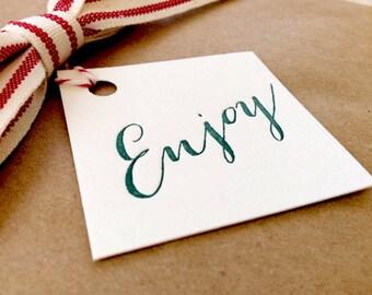 Letterpress Gift Tags - Enjoy Calligraphy Set of 10
