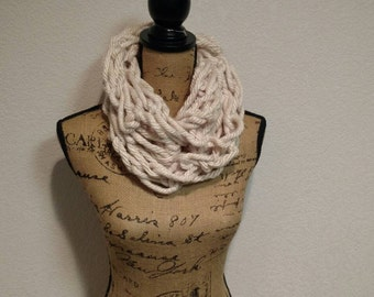 Cream Arm Knit Chunky Scarf