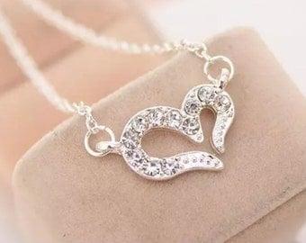 Open heart petite silver necklace