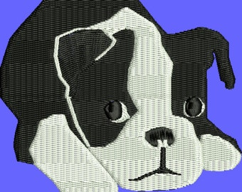 Boston Terrier puppy NEW embroidery design