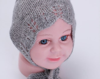 knit newborn bonnet, baby bonnet, grey bonnet, lace edge bonnet, ready to ship, rts, newborn photo prop, photogrphy prop, knit newborn hat