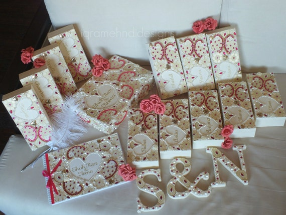 Luxury Bridal Wedding Set Guest-book Wooden Letters