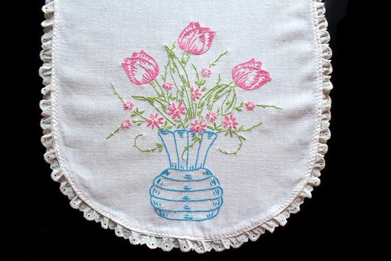 Vintage linens hand embroidered dresser scarf table runners