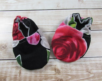Rose Baby Shoes, Juliette Tula Accessories,  Toddler shoes, Soft Soled Shoes, Baby Girl Moccs, Moccasins, Crib Shoes, Floral Black Pink Red