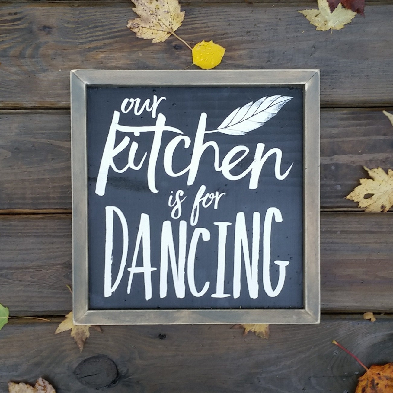Our Kitchen Is For Dancing Rustic Wood Sign Kitchen D Cor