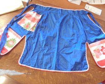 blue vintage half apron