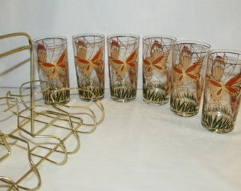 CULVER GLASSES BUTTERFLY Set of 6 in Rack Highball Glasses 22K Gold