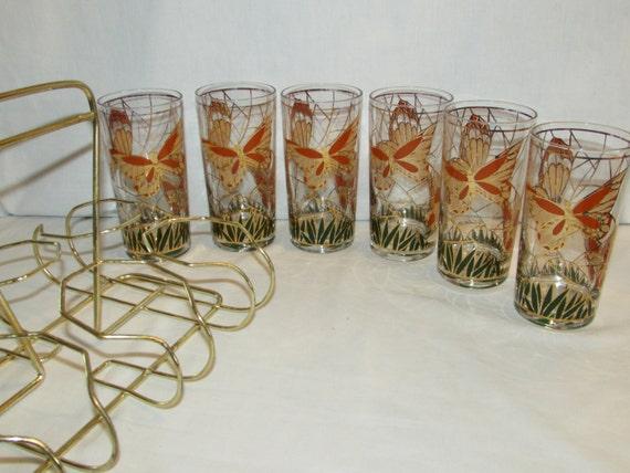 CULVER GLASSES BUTTERFLY Set of 6 in Rack Highball Glasses 22K