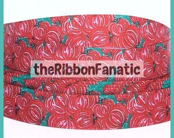 "5 yds 7/8"" Lilly Fabric Inspired Punkin Chunkin Pumpkin Fall Teal Pink Grosgrain Ribbon"