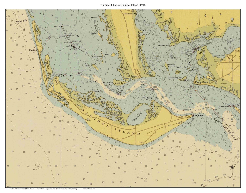 Sanibel Island Map: Sanibel Island 1948 Nautical Map Florida Custom Print