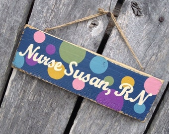 Polka dots Hand Painted Teacher Name Sign