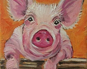 PIG PAINTING, OIL painting, original painting, farm animal painting, young pig, pig, piglet, wall art, home decor, kitchen decor,happy pig