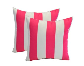 """Set of 2 Pillow Covers - 20"""" x 20"""" Indoor / Outdoor Decorative Pillow Covers - Preppy Pink & White Stripe"""