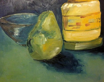 11x14 blue and yellow pear still life painting
