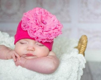 Cotton Lace Hat - Baby Girl Cotton Hat - Baby Hat - Lace Hat - Baby - Lace Beanie - Newborn Hat - Newborn Photo Prop - Baby Beanie