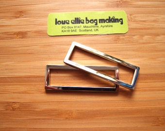 2 inch (50mm) Flat Rectangle Rings in Silver Nickel / Antique Brass (set of 2 rec rings)  Bag and Strap Hardware / Guitar Straps