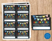 INSTANT DOWNLOAD . Baby Boy Shower Diaper Raffle Insert Card . Blue Green Red Yellow .Diaper Raffle cards  Boy oh Boy . PDF File .chalkboard
