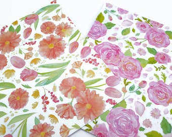 SALE! Floral Origami Paper - 48 Watercolour Flower Design Scrapbooking Papers