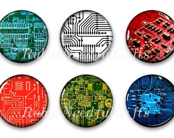 Circuit Magnets, Button Magnets, Fridge Magnets, Round Magnets, 1 1/4 inch, Best friends gift, Hostess Gift, SET OF 6, Circuit Board Magnets