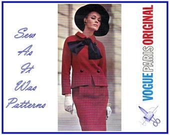 1960s Vogue Paris Original 1559 Christian Dior Two Piece Dress Suit Jacket Sleeves Sleeveless Skirt Cravat Neck Bow Tie Size 10 Bust 31