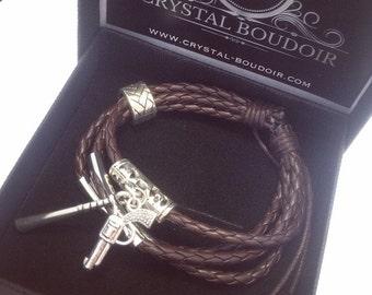 Negan & Lucille - The Walking Dead Jeffrey Dean Morgan Character Inspired Leather Adjustable Bracelet!