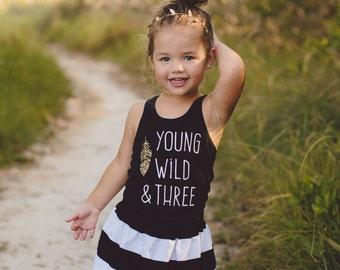Girls Birthday outfit, young wild & three,  girls Birthday shirt and skirt