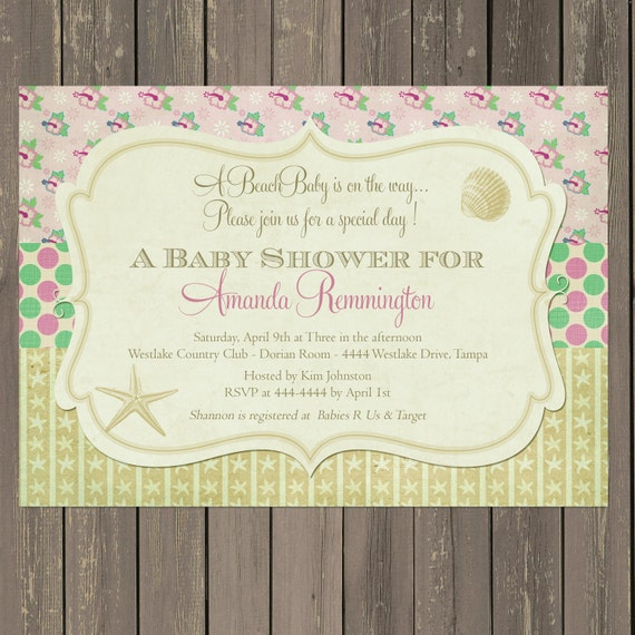 beach baby shower invitation tropical baby shower invitation shells