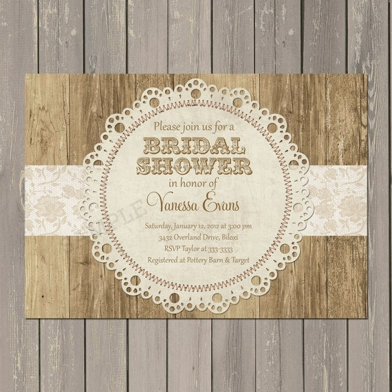 Lace Bridal Shower Invitation, Doily Bridal Shower Invitation, Rustic Shower, Wood and Lace, Wedding, Printable or Printed