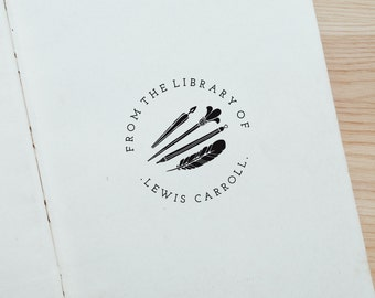 Personalised Custom From the Library of Stationery Rubber Stamp with Wood Handle