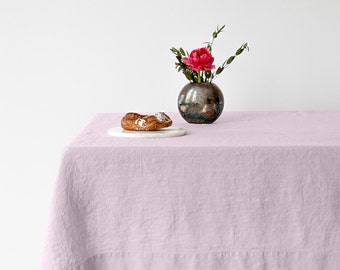 Pink Lavender Stone Washed Linen Tablecloth
