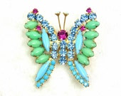 Juliana Butterfly Brooch Blue & Green Milk Glass Cabochons, Pink, Blue Glass Rhinestones, Vintage, D and E