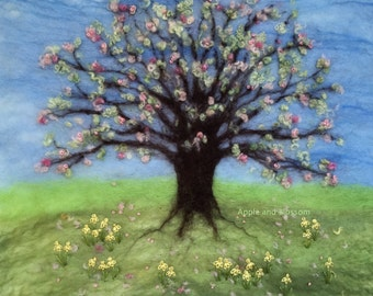 Spring,Blossom,Tree,Flowers,Daffodils,Embroidery,Picture,Felt,Wool,Countryside,Nature,Springtime,Pink,Blossom Tree,Art,Interior Decor
