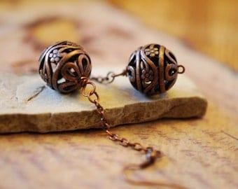 Copper filigree dangle earrings