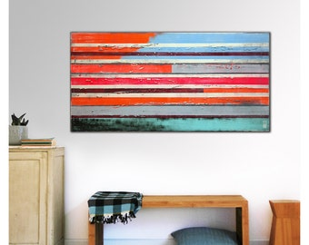 Painting, Abstract Art, Canvas Wall art, Neon Striped colors - 155, On canvas, Original Art, Landscape Art, Abstract Painting