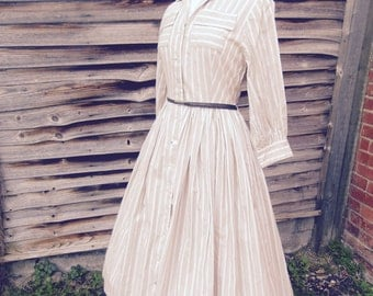 Vintage pin striped tea dress, with full skirt.